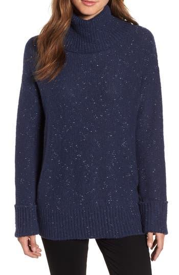 Caslon Roll Neck Cotton Wool Blend Sweater, Blue
