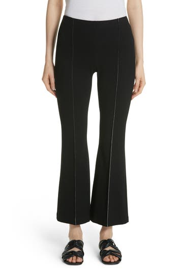 Rosetta Getty Crepe Jersey Crop Flare Pants, Black