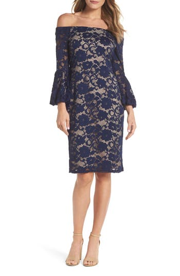 Eliza J Bubble Bell Sleeve Off The Shoulder Lace Sheath Dress, Blue