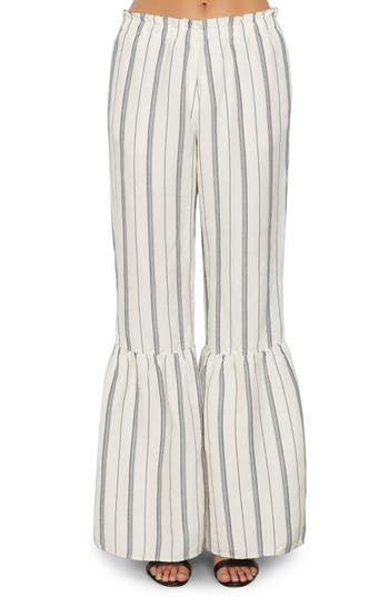 Willow & Clay Stripe Ruffle Flare Pants, White