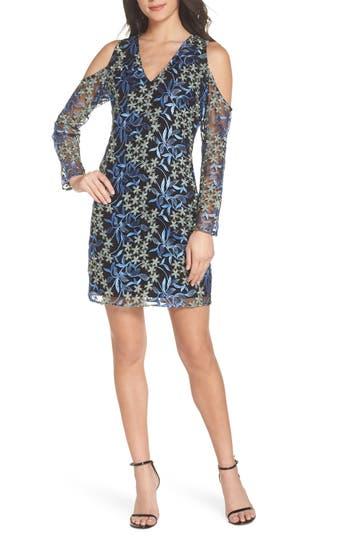 Sam Edelman Floral Embroidered Cold Shoulder Dress, Black