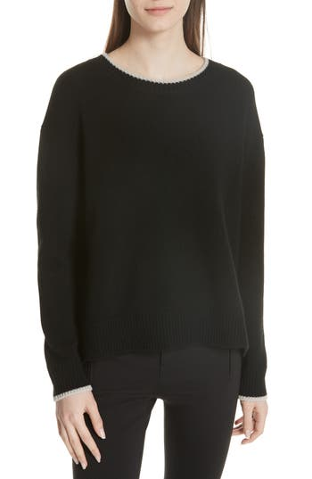 Vince Wool & Cashmere Tipped Sweater, Black