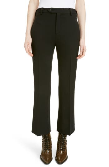 Chloe Stretch Stretch Wool Crop Flare Pants, 8 FR - Black