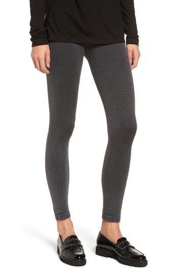 Yummie Washed Moto Seamless Skimmer Leggings, Black