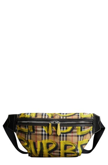 Burberry Large Sonny Graffiti Check Canvas Fanny Pack - Yellow