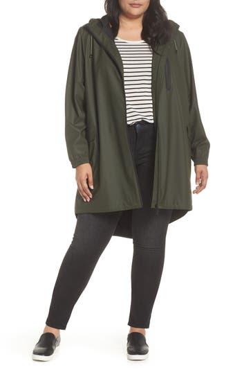 Plus Size Kristen Blake Hooded Rain Topper Jacket, Green