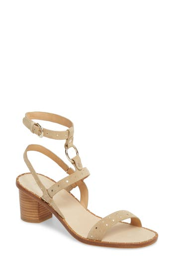 Joie Medalca Studded Ankle Strap Sandal, Beige