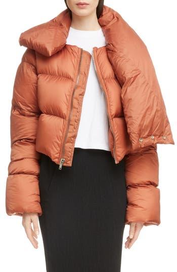 Rick Owens Down Fill Crop Puffer Coat, 8 IT - Orange