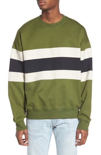Topman Colorblock Stripe Sweatshirt, Green
