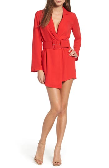 Leith Belted Romper, Red