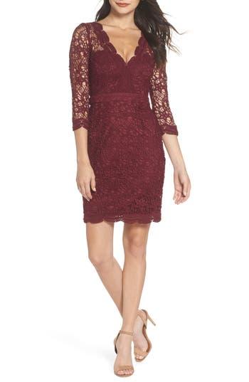 Lulus Lace Cocktail Dress, Burgundy