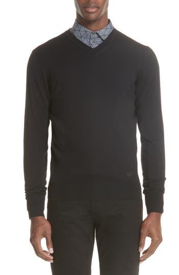 Emporio Armani V-Neck Wool Sweater, 0 US / 5 R - Black