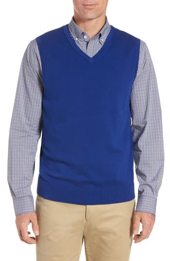 Cutter & Buck Lakemont V-Neck Sweater Vest, Blue