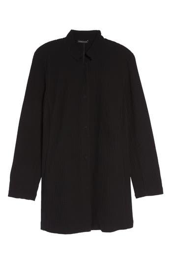 Plus Size Eileen Fisher Grid Stretch Cotton & Tencel Blend Jacket