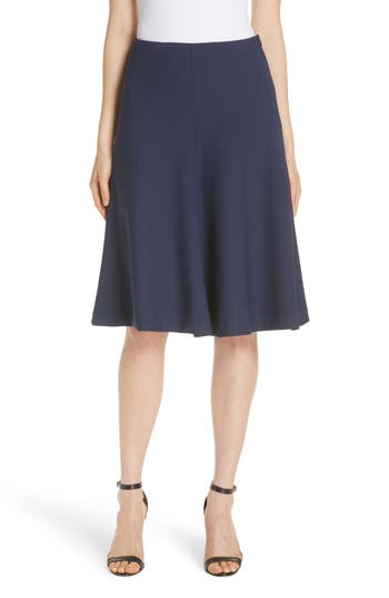 Stretch Crepe Bell Skirt, Navy