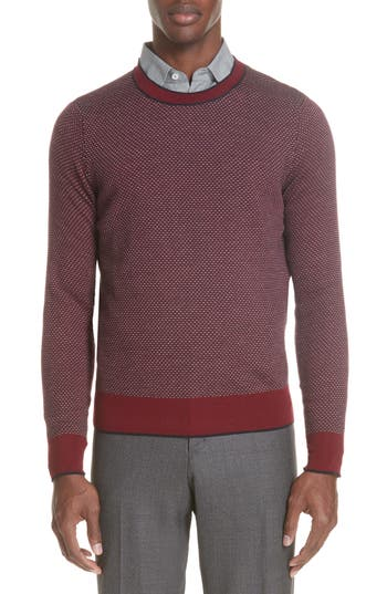 Canali Crewneck Wool Sweater, US / 4 R - Red