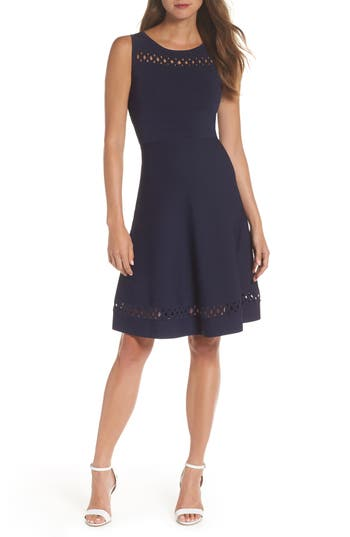 French Connection Kai Fit & Flare Sweater Dress, Blue