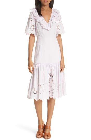 La Vie Rebecca Taylor Eyelet Poplin Midi Dress, Purple