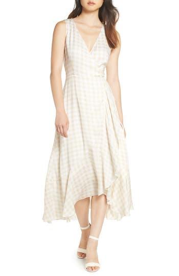 Charles Henry Sleeveless Gingham Wrap Dress, Ivory