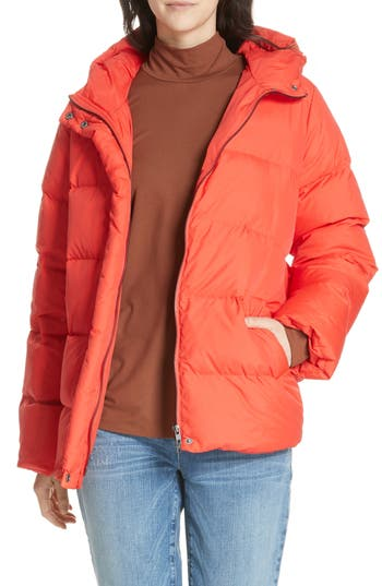 Eileen Fisher Hooded Down Jacket, Red