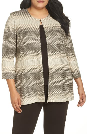 Plus Size Ming Wang Long Jacquard Knit Jacket, Brown