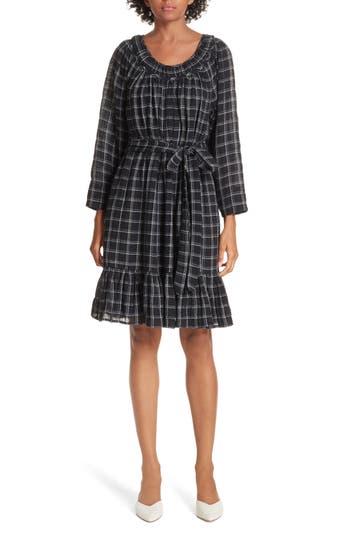 La Vie Rebecca Taylor Metallic Check Dress, Black