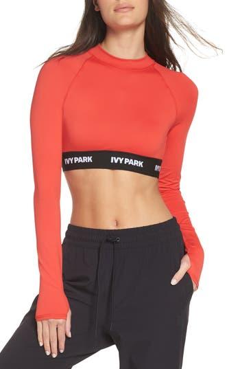 Ivy Park Logo Tape Open Back Crop Top, Red