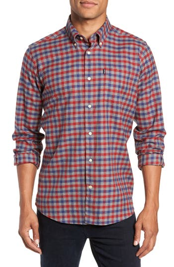 BARBOUR Moss Check Flannel Sport Shirt in Rich Red