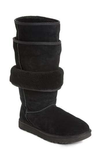 X Ugg Brown Triple Layered Shearling Boots in Black