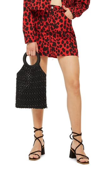Topshop Leopard Print Denim Skirt, US (fits like 0) - Red