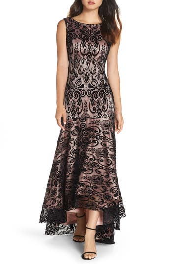 Eliza J High/low Lace Gown, Black