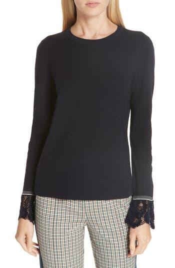 Tory Burch Lace Trim Merino Wool Sweater, Blue