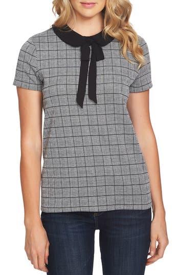 1930s Style Blouses, Shirts, Tops | Vintage Blouses Womens Cece Glen Plaid Bow Collar Top $79.00 AT vintagedancer.com