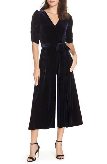 Vintage High Waisted Trousers, Sailor Pants, Jeans Petite Womens Chelsea28 Velvet Culotte Jumpsuit Size 12P - Blue $149.00 AT vintagedancer.com
