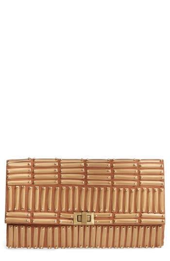 Blade Beaded Clutch - Brown, Brown/ Gold