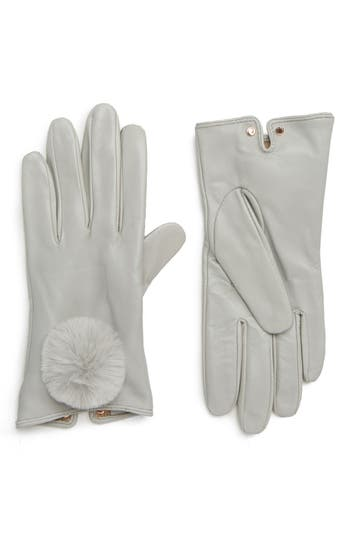 Ted Baker London Pom Leather Touchscreen Gloves, Grey