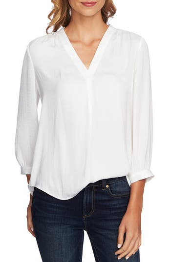 1920s Style Blouses, Shirts, Sweaters, Cardigans Womens Vince Camuto Rumple Fabric Blouse Size Large - White $74.00 AT vintagedancer.com