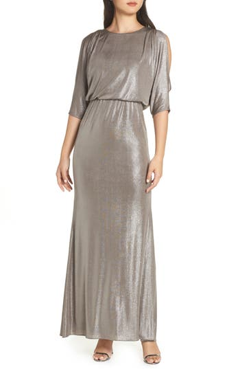 Adrianna Papell Foiled Jersey Gown, Metallic
