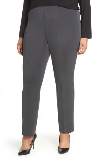 Plus Size Ming Wang Pull-On Pants, Grey