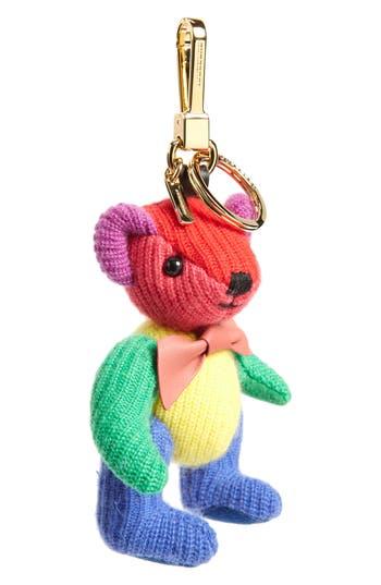 Burberry Thomas Bear Rainbow Knit Bag Charm - Orange