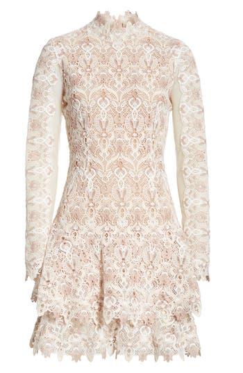 Jonathan Simkhai Guipure Lace Layer Hem Dress, Beige