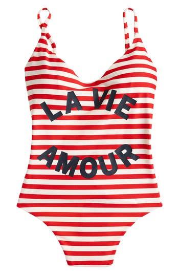 J.crew La Vie Amour Stripe One-Piece Swimsuit, Red