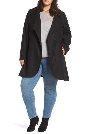 Plus Size Halogen Asymmetrical Zip Wool Blend Coat, Black