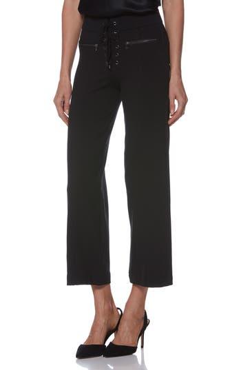 Nellie Lace-Up High Waist Culotte Jeans, Black