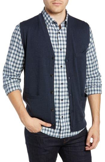 Nordstrom Shop Merino Button Front Sweater Vest, Blue