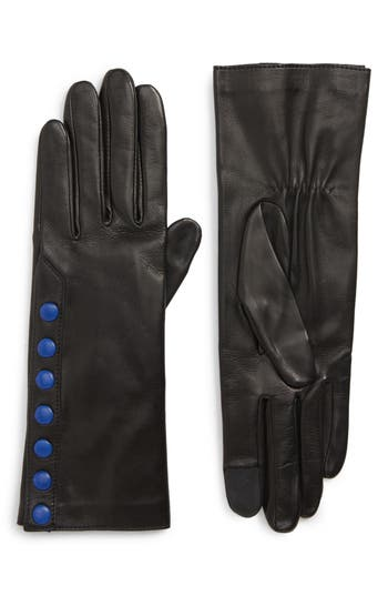 Agnelle Color Pop Button Lambskin Leather Gloves - Black