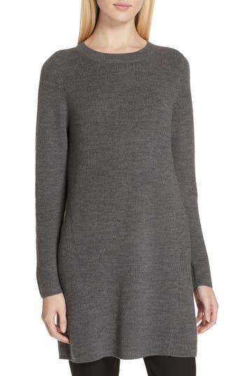 Eileen Fisher Round Neck Merino Wool Tunic, Beige