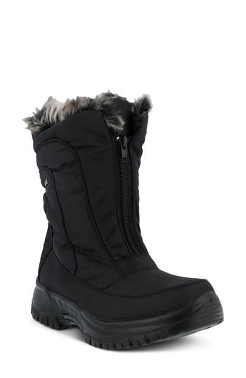 Spring Step Zigzag Waterproof Faux Fur Bootie - Black