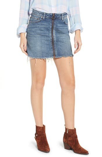 We The Free By Free People Zip It Up Denim Miniskirt, Blue
