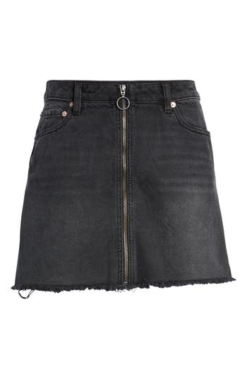 We The Free By Free People Zip It Up Denim Miniskirt, Black